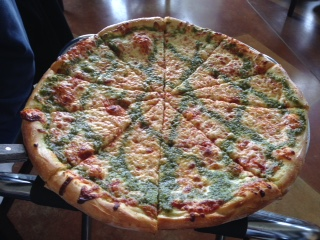 The amazing Pesto Pizza at Village Pizzeria